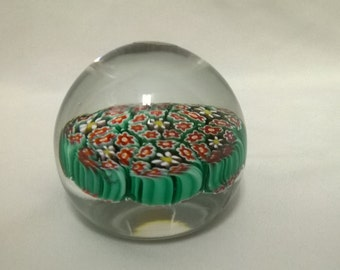Small Vintage Murano Millifiori Venetian Glass Paperweight - Original Sticker - Very Colorful