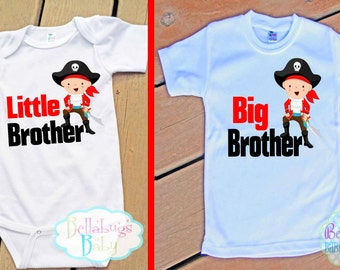 Pirate Big Brother Little Brother Outfit - Bodysuit or Tshirt - Photo prop - Newborn