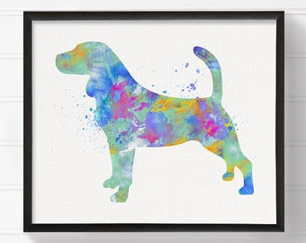 Beagle Art - Beagle Print - Beagle Poster - Watercolor Beagle - Dog Art Print - Dog Wall Art, Kids Room Decor, Nursery Wall Decor, Pet Lover