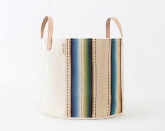Medium Natural Canvas Bucket Basket: Tan Stripe