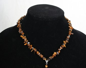 "vintage Estate Tiger Eye Stone Necklace - Boho, ethnic, southwest, hippie  18"" long"