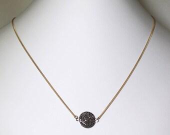 Pavé Diamond Pendant Necklace Genuine Diamond Necklace Gold Necklace April Birthstone Precious Diamond Disk Necklace PD-N-104-s/g