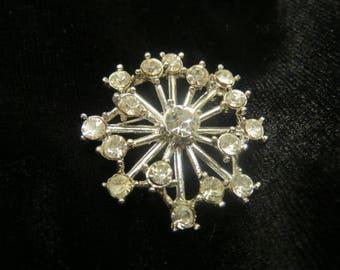 vintage Snowflake rhinestone brooch