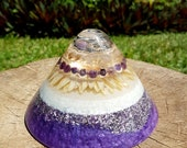 Crown Chakra Orgone Cone - Amethyst, Rutilated Quartz - EMF Protection - Energy Healing Spiritual Gift - Feng Shui healing Decor