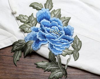Blue Floral Appliques, Embroidered Patches
