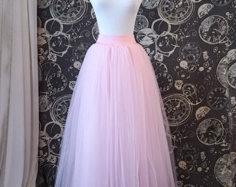Pink Tulle Skirt with Stretch Waistband - Full Length Adult Tutu, Bridesmaid Skirt, Princess Skirt or Petticoat - Custom Sized