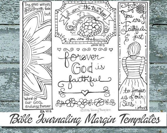I Am The True Vine 12 Bible Journaling Black And White