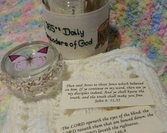 Bible promises in jar with cross stitched border