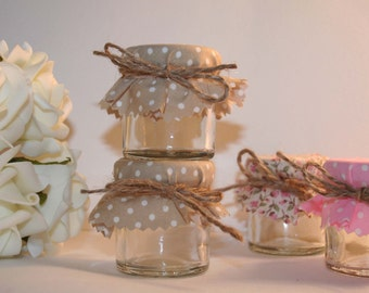 Mini Jar covers, Polka dot fabric covers, Jar covers, fabric jar covers, Glass jar covers, Jam jar covers