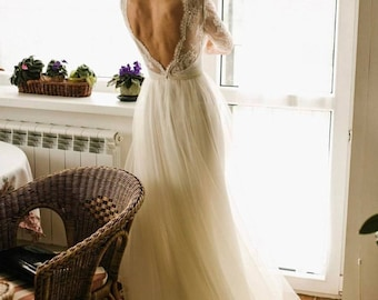Lace wedding dress /Ivory dress /Tulle wedding gown,champagne wedding dress ,2017,Open back dress ,nude bridal gown ,ivory bridal dress