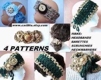 crochet pattern- num 43, 4 PATTERNS baby headband, adult headband,barrette, scrunchie and neckwarmer. Instant download