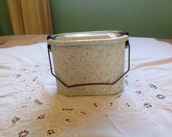 French Vintage Enamelware Lunch Pail