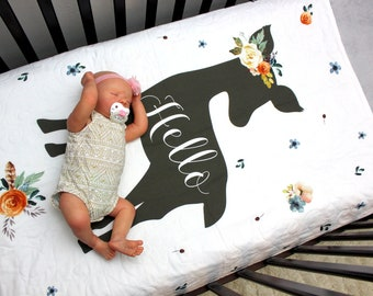 Hello Fawn Baby Bedding, Baby Girl Floral Crib Quilt, Woodland Baby Blanket