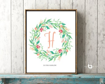 Flower Calligraphy Monogram Art, Monogram Art, Flower Letter Nursery Print, Personalized Name Art, Watercolor Flowers, Art Decor, Print
