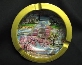 Vintage Washington DC Metal Ashtray The Nations Capital Political Mid Century Modern Retro Decor Boho Hippie