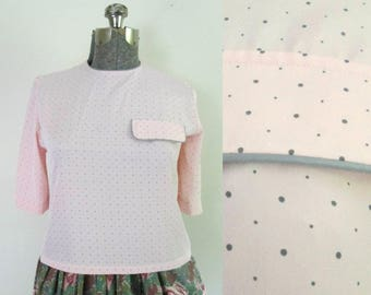 1980s Pink and Gray Polka Dot Blouse // Evan-Picone Silky Short Back Buttoned Top