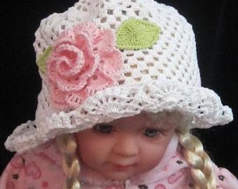Crochet Panama Sun Hat, Crochet Girls Cloche Panama Hats, Toddler Girls Sun Hat, Girls Summer Brim Hat, White Panama Hat with flower