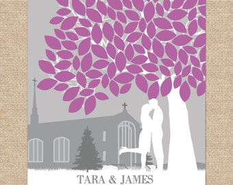 Signature Wedding Tree, Custom Wedding Guestbook Idea, Unique Wedding art // Wedding Visitor Book // up to 175+ Signatures // W-T05-1PS HH3