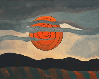 Red Sun by Arthur Dove Home Decor Wall Decor Giclee Art Print Poster A4 A3 A2 Large Print FLAT RATE SHIPPING