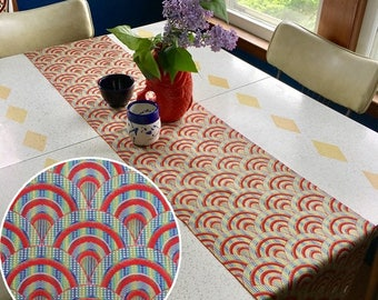 """Table Runner made from a Vintage Japanese Obi Belt """"Overlapping Waves"""""""