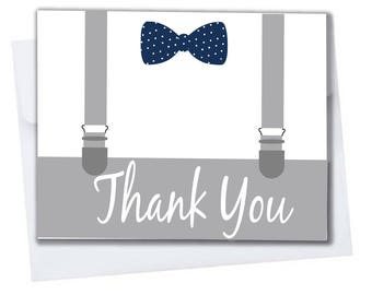 Little Man Baby Shower or Birthday 10 Pack Thank You Cards Blank Inside with Envelopes A2 Folded 4x5.25 in Blue, Gray, White