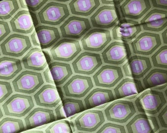 Amy Butler, Midwest Modern Honeycomb Green Olive Pink, Fat Quarter Quilt Fabric Sewing Fabric Retro Fabric