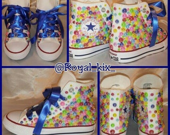 Pearl Converse / Chuck/ Name / Blue / Crystals / Bling / Birthdays / Girls / Candy Coated Converse / Kids shoes