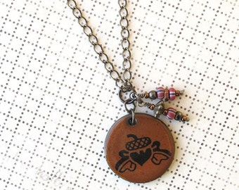 SALE! Acorn Necklace. Rust Glaze. Black Porcelain. Round. Burnt Orange. Terra Cotta. Copper. Glass Beads. Gunmetal Chain. Oak Leaves. Circle