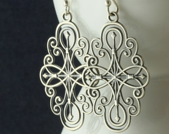 Mandala Star Yoga Earrings, Yoga Jewelry, Drop Dangle, Sterling Silver, Gift For Her, Under 40 50, Star Earrings