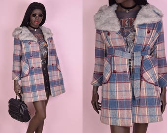 60s 70s Plaid Hooded Coat/ XS/ 1960s/ 1970s/ Jacket