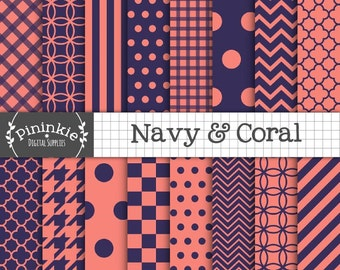 Navy and Coral Digital Paper, Commercial Use, Instant Download, Chevrons, Polka Dots, Stripes, Quatrefoil, Background