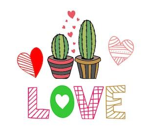 Cactus Valentine, Love, Cactus, PNG SVG Cut File