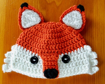 Fox Hat, Crochet Fox Hat, Newborn to Adult sizes available, Photo Prop Hat, Hat for Baby, Christmas Gift idea, Baby Gift, Baby Shower Gift