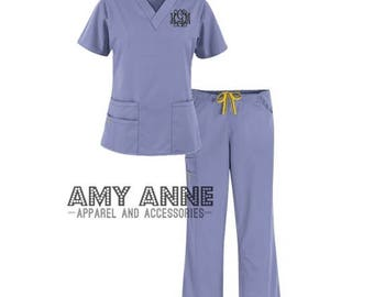Monogrammed Nurse Scrub Top and Pant Set Nursing Medical Apparel Doctor  Scrubs Personalized Embroidered Gift Idea