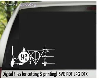 Harry Potter LOVE Cut Files. Cricut, Silhouette. SVG DXF. Potterhead, wand, Always, Platform 9 3/4, Broom. diy decal, t shirt. htv.