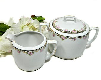 Antique MZ Austria Creamer and Covered Sugar Bowl Rose Garland