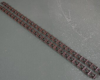 Antique Conveyor Chain, Rusty Small Square Links, Metal Steampunk Supply,  #502