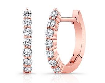 Barkevs, Rose Gold & Diamond Hoop Earrings, Gold Earrings, Diamond Earrings, Earrings, Hoop Earrings, Diamond Huggie Earrings, M2001EP