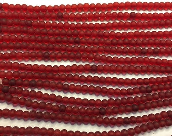 Cultured Sea Glass Beads 48 Cherry Red 4mm Round Beads