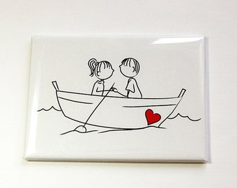 Magnet, ACEO, Fridge magnet, Kitchen magnet, Valentines Day, Couple in boat, Love, Couple in Love, Stick Figures (4594)