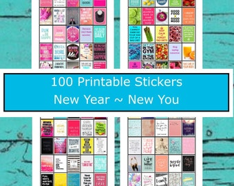 Planner Stickers 100 Images  New Year New You  Fitness Health Diet Goals Dreams   Life Planners Journals  Printable