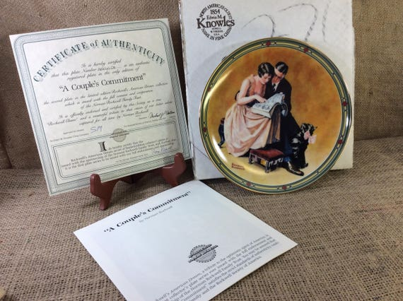 Norman Rockwell's A Couple's Commitment collectors plate, all original paperwork and box Mint condition Rockwell plate, plate collectors