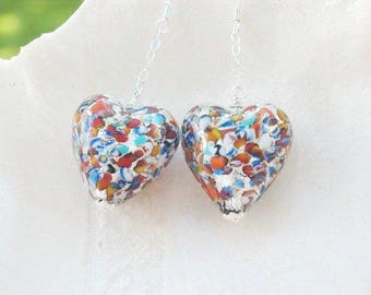 Millefiori Murano Glass Long Earrings