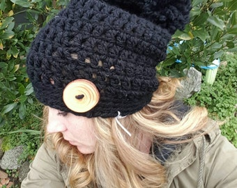 Black slouch hat, black slouch hat, pom pom slouch hat, pompom hat, womens slouch hat, child's slouch hat, womens hat with button