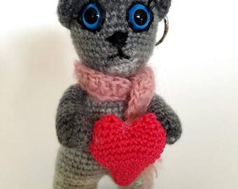 Crocheted Cat & Heart Keychain - Ready to Ship