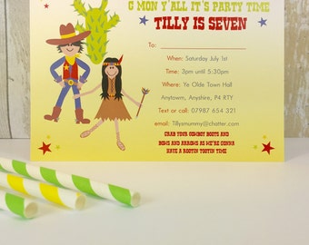 Pack of 16 Cowboy and Indian Personalised Party Invites or Thank You Cards