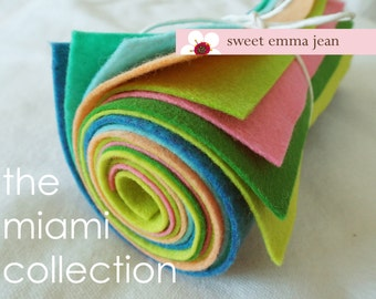 Wool Felt Sheets - The Miami Collection - Eight 9x12 Sheets of Felt