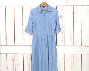 90s vintage Lands End light blue jean denim button down shirt dress/minimalist chambray collared shirt dress/medium/large