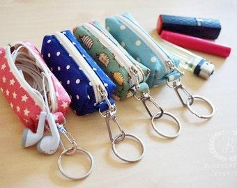 Hedgehogs Chapstick keychain, Chapstick cozy, Chapstick holder keychain , Lipstick Case Zipper Key Chain, Lip Balm Holder
