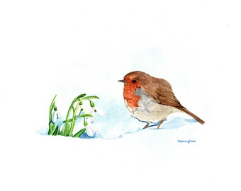 ART PRINT - The messenger of spring, Robin and snowdrops, Gift for bird lovers, Art print of an original  watercolor